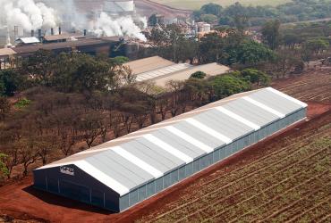 Armazenamento de fertilizantes em galpão modular